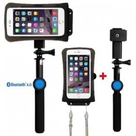 DiCAPac Action DRS-C2 wasserdichtes Smartphone Hüllen Set - mit Bluetooth Selfie Stick plus Universalhalter