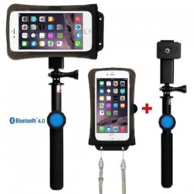 Waterproof smartphone case set DiCAPac Action DRS-C2 with bluetooth selfie stick