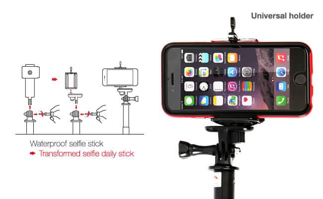 DiCAPac Action DP-1M Smartphone Selfie Stick mit Halterung für Smartphone Unterwassertaschen - Detailansicht DiCAPac Action Halterung - Universalhalter