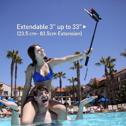 DiCAPac Action DP-1S Handy Selfie Stick mit wasserdichtem Bluetooth Fernauslöser im Erlebnisbad