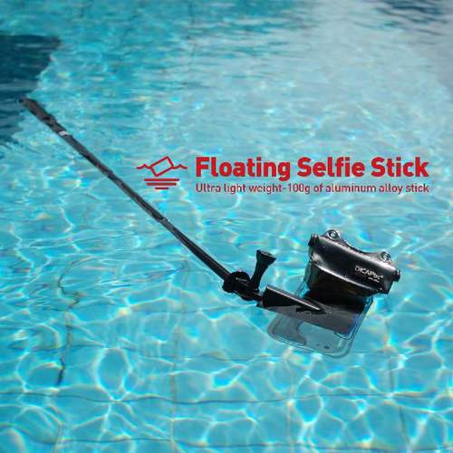 DiCAPac Action DRS-C2 wasserdichtes Smartphone Hüllen Set - Bluetooth Selfie Stick im Pool