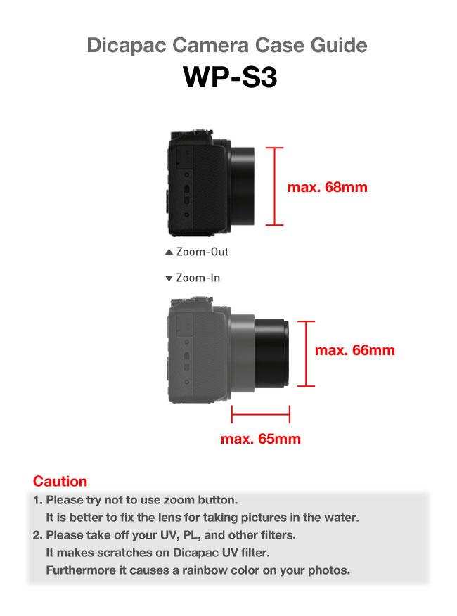 DiCAPac-WP-S3-lens-guide wasserdichtes Case für Spiegellose Systemkameras mit Wechselobjektiv