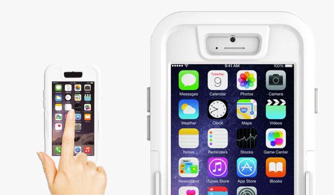 iPhone 6 Hülle stoßfest wasserdicht DiCAPac WS-i6s Schutzhülle iPhone 6s aus Hartkunststoff für die iPhone Modelle 6 und 6s - Touchscreen Detail - DiCAPac Sports