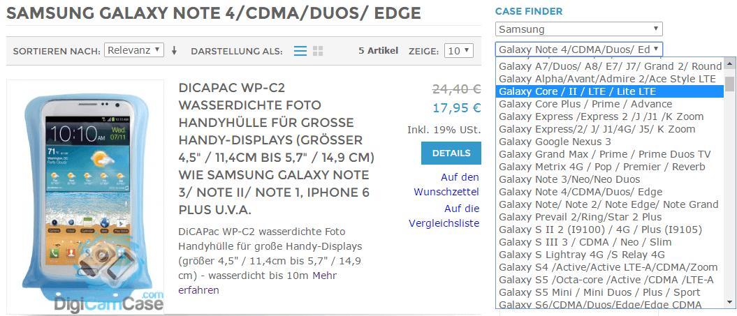 case finder jetzt auch zum auffinden des passenden dicapacs für Ihr Smartphones