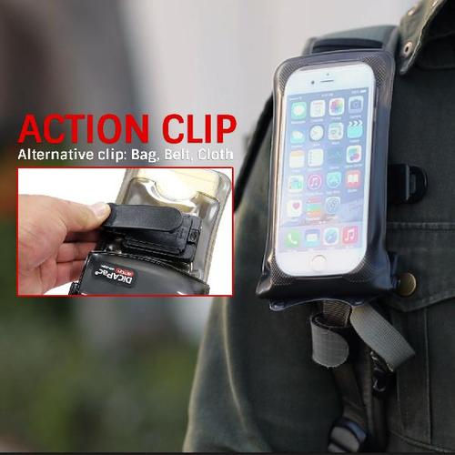 DiCApac Action wp-c1a - waterproof case for iphone 6 and many other smartphones - clip bracket for bag and clothes