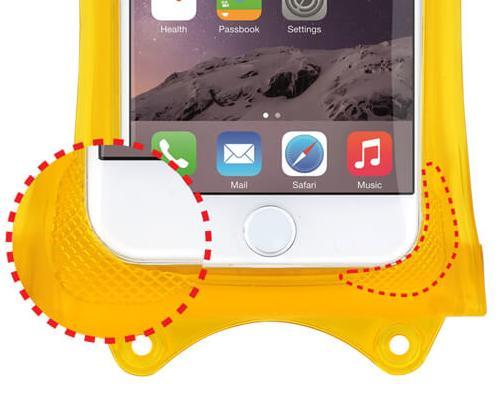 wasserdichte-iPhone-Huelle-DiCAPac-WPi10-vier-kantenschutz-im-detail-makro-aufnahme